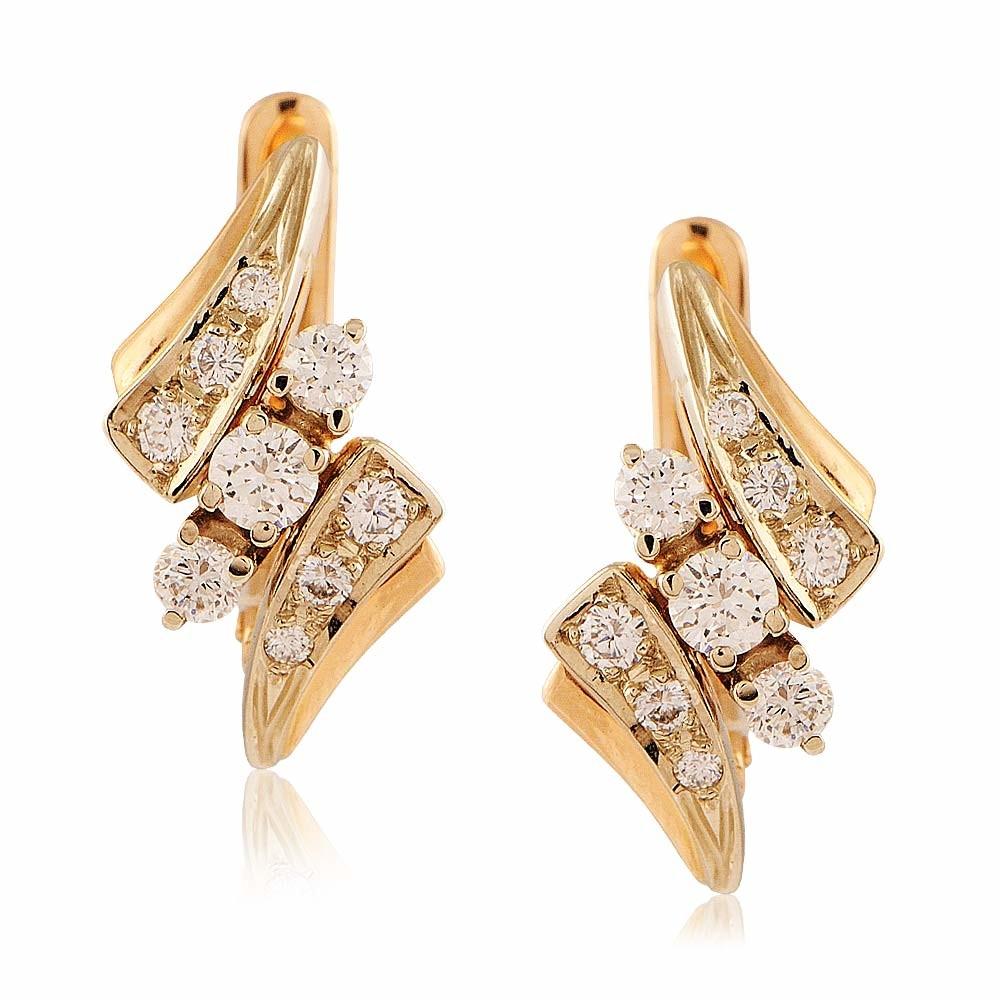 Купить Серьги из красного золота 585 пробы с бриллиантом, Другие, Красный, Для женщин, 2401666/02-А501-41