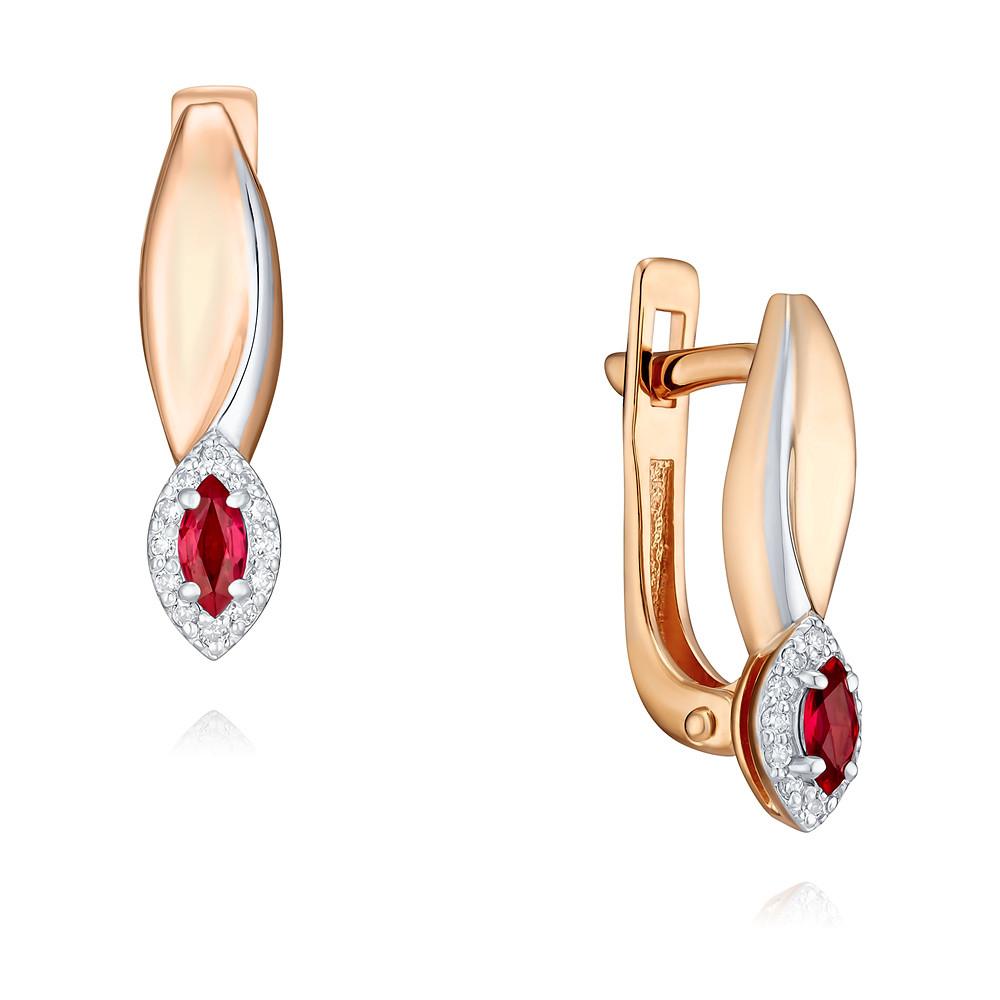 Купить со скидкой Серьги из красного золота 585 пробы с рубином и бриллиантом