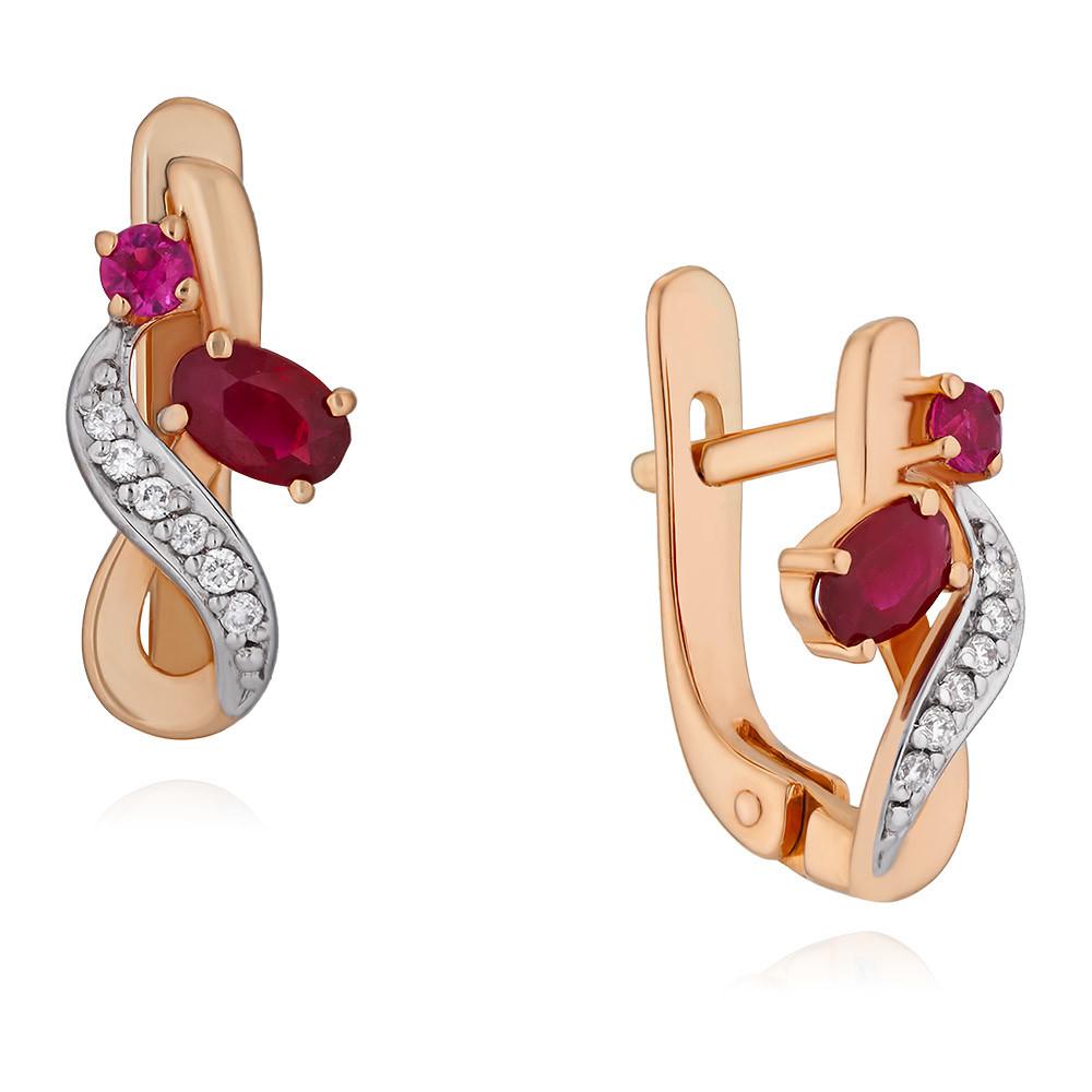 Серьги из красного золота 585 пробы с бриллиантом, рубином philips hu 4707 13