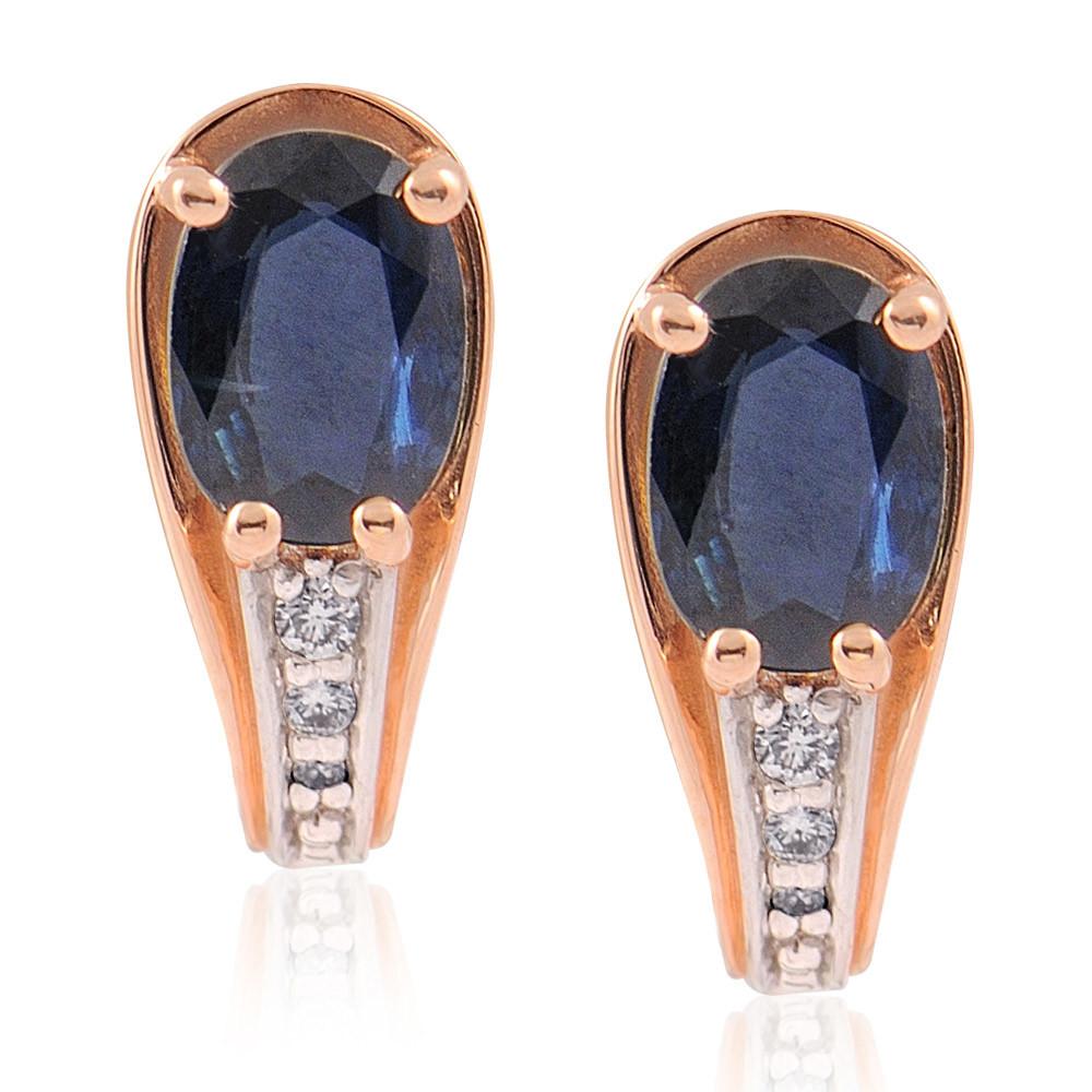 Купить Серьги из красного золота 585 пробы с бриллиантом, сапфиром, АДАМАС, Красный, 2411447-А500Д-432