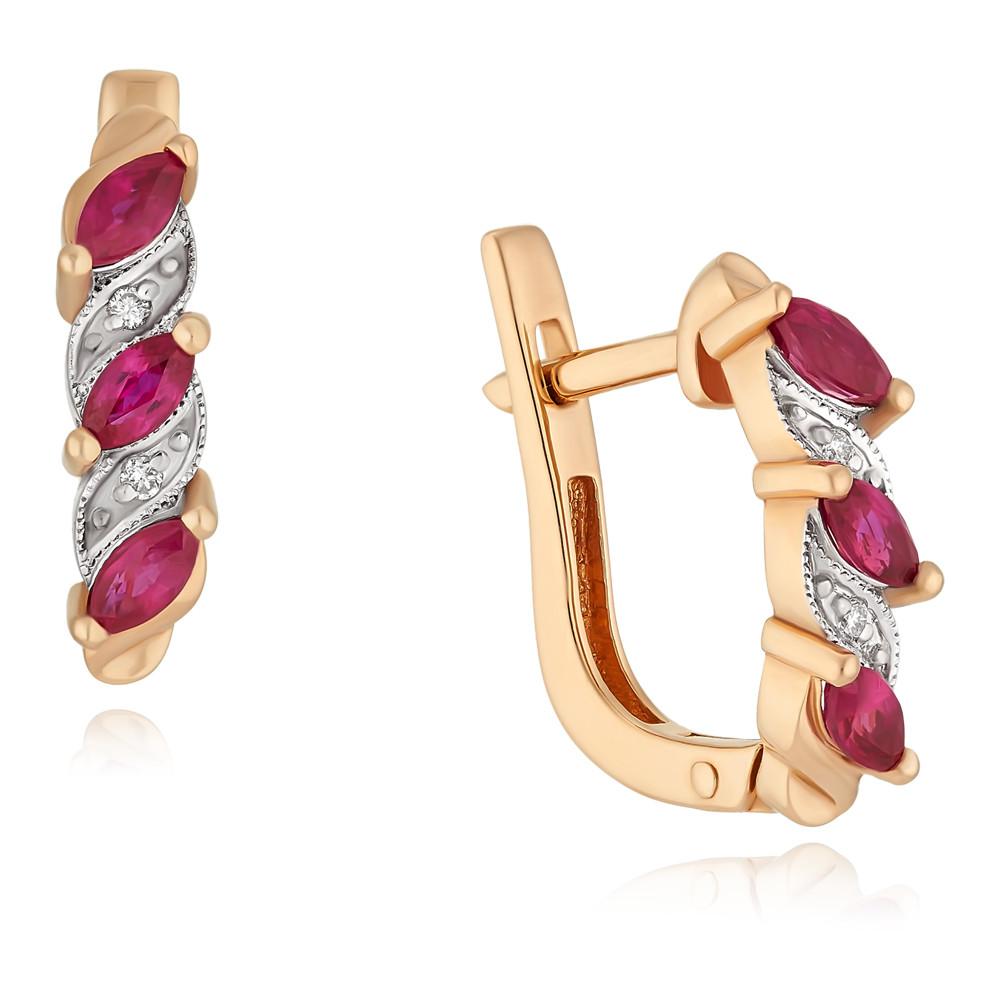 Купить Серьги из красного золота 585 пробы с бриллиантом, рубином, SOKOLOV, Красный, Для женщин, 2413118/01-А50-431