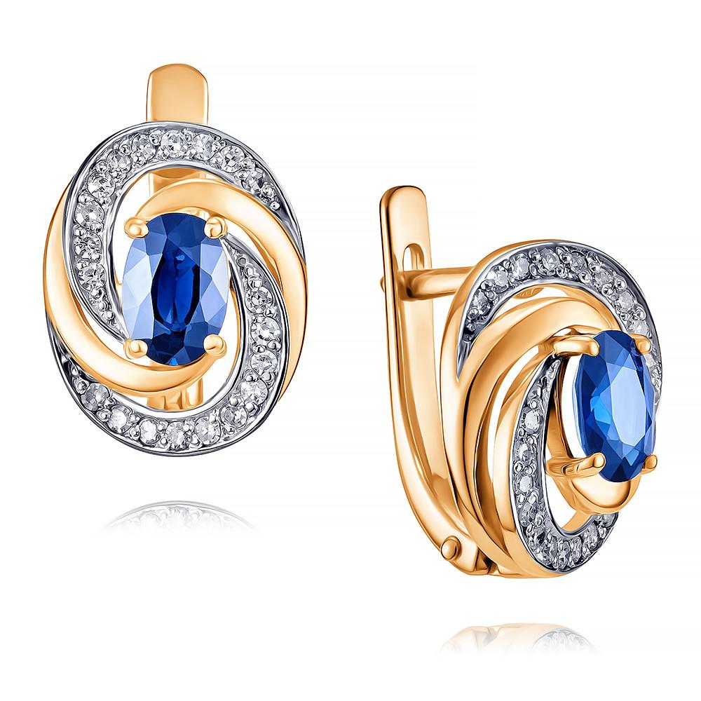 Купить Серьги из красного золота 585 пробы с бриллиантом, сапфиром, АДАМАС, Красный, 2416550-А500Д-432