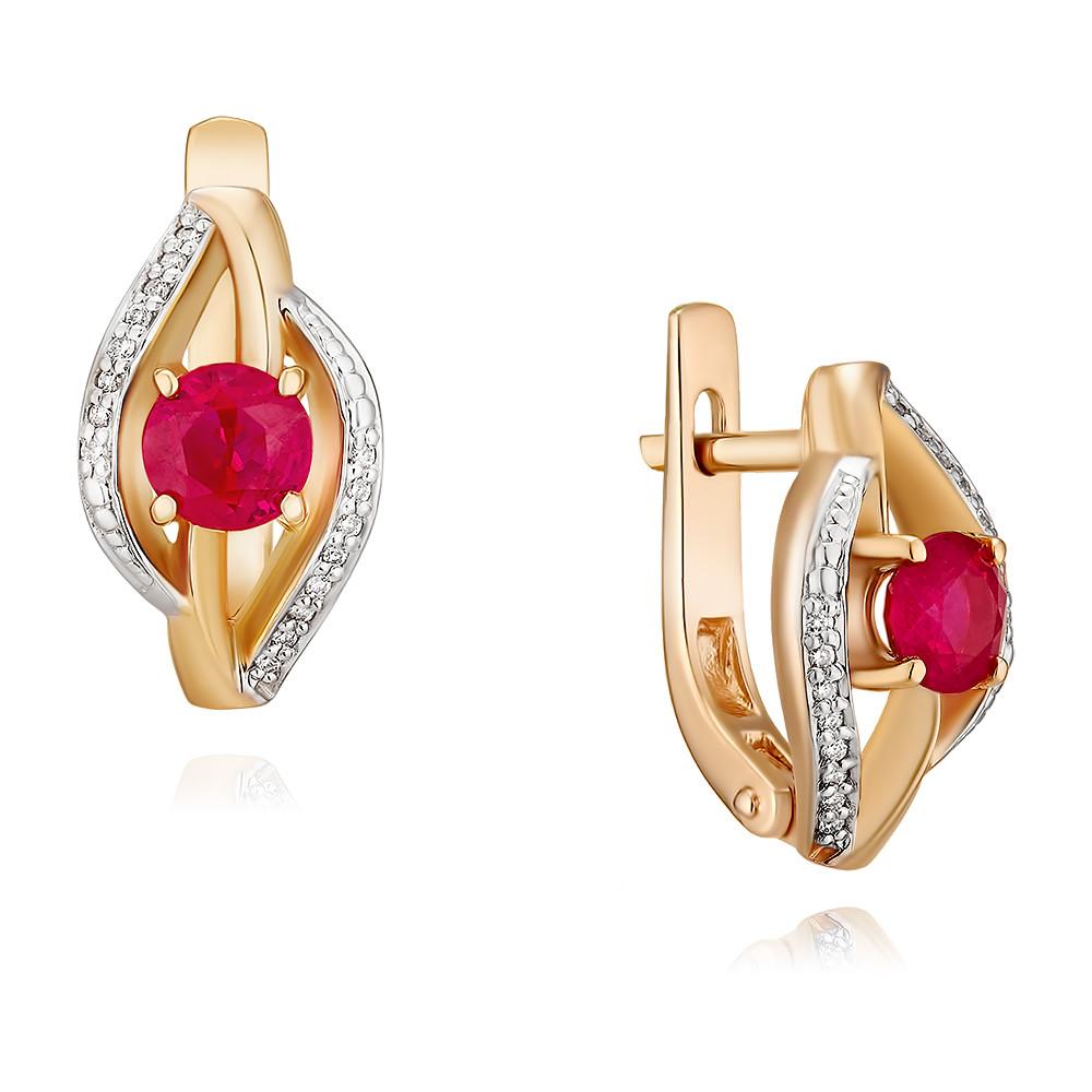 Купить со скидкой Серьги из красного золота 585 пробы с бриллиантом, рубином