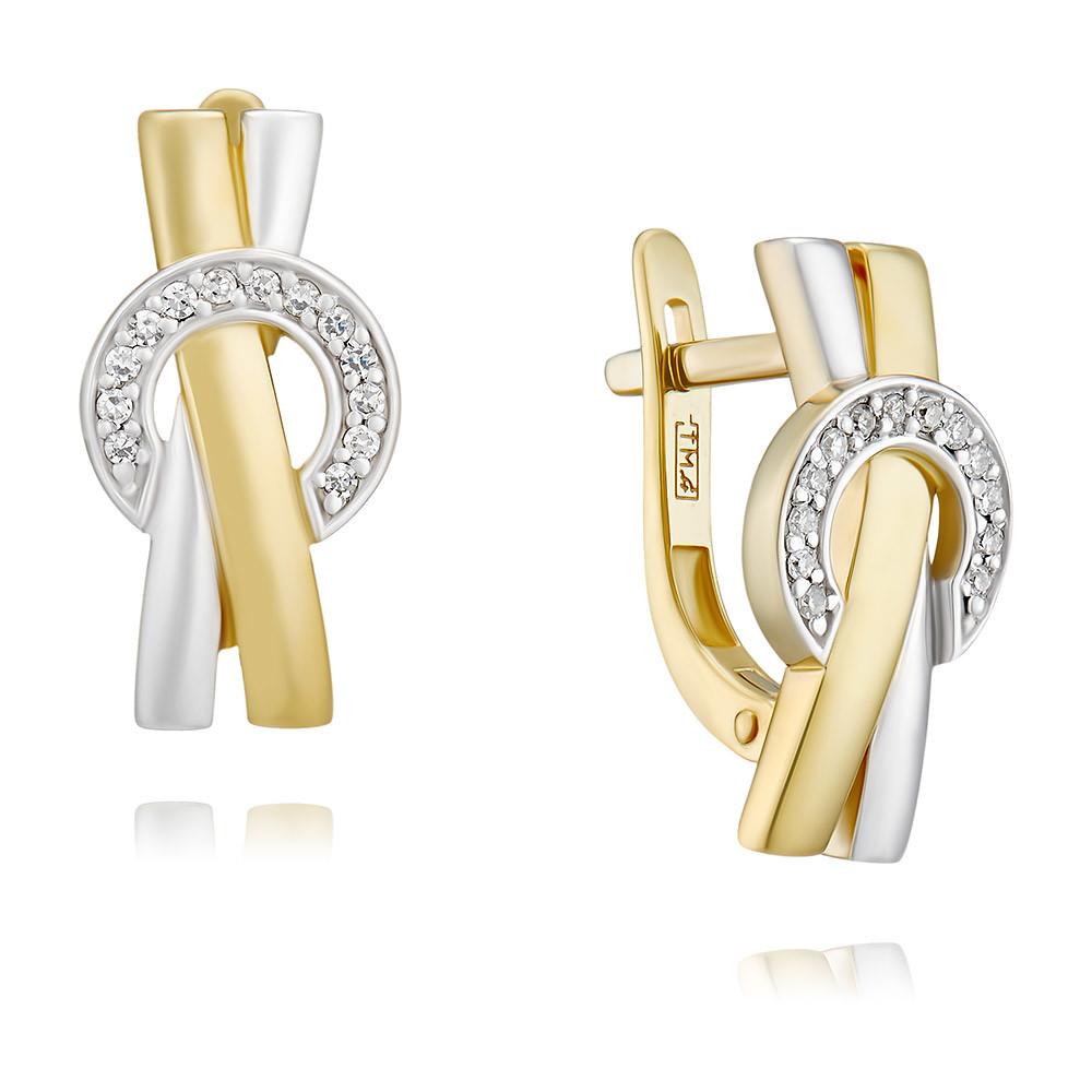 Купить Серьги из желтого золота 585 пробы с бриллиантом, АДАМАС, Желтый, 2417935-А55Д-41
