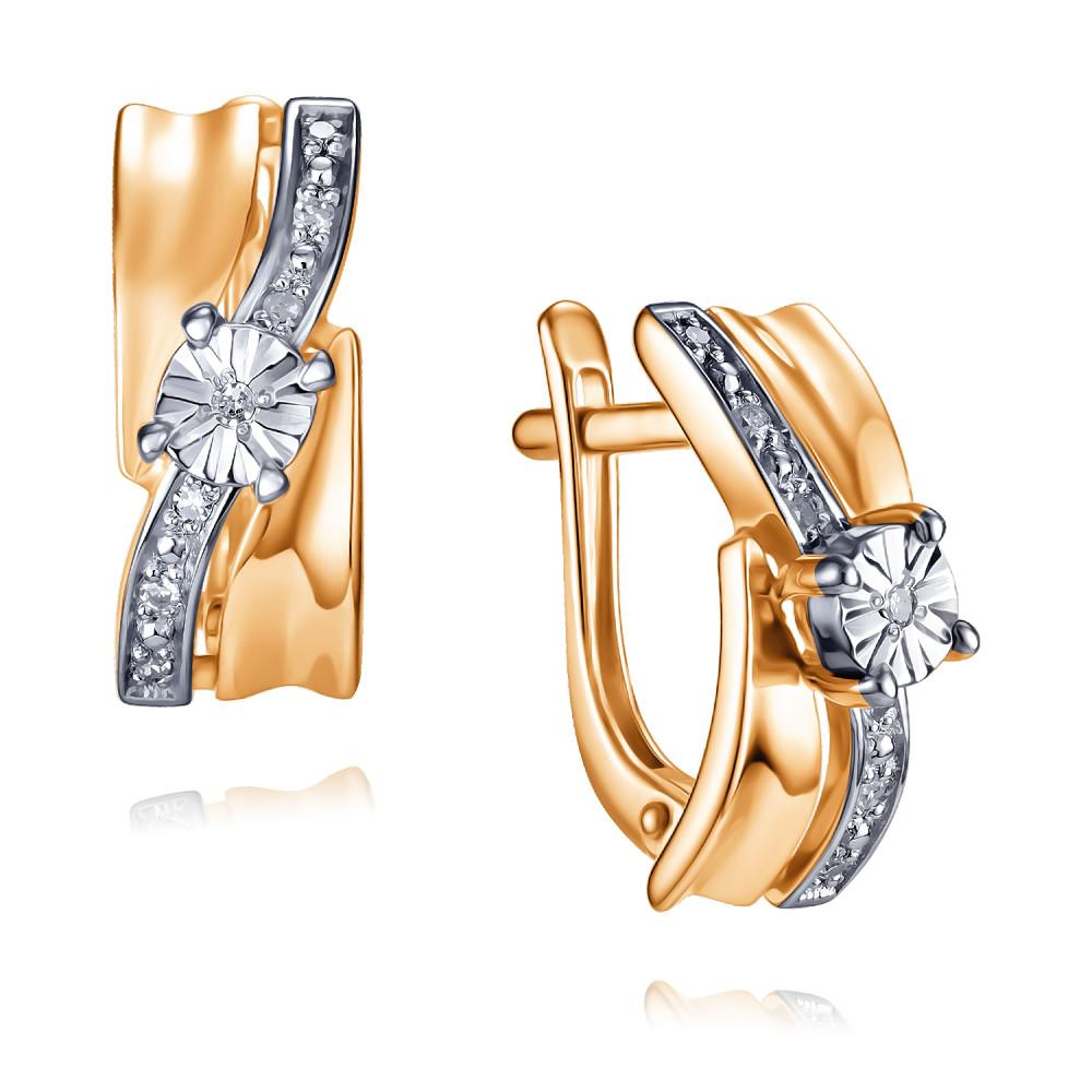 Купить Серьги из красного золота 585 пробы с бриллиантом, АДАМАС, Красный, 2418120-А50ДЛ2-41