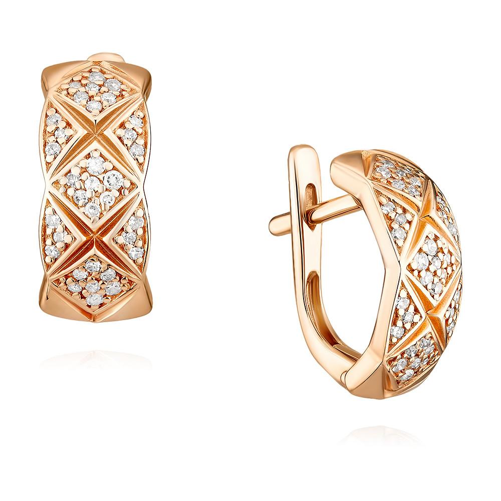 Купить Серьги из красного золота 585 пробы с бриллиантом, АДАМАС, Красный, 2418215-А500-41