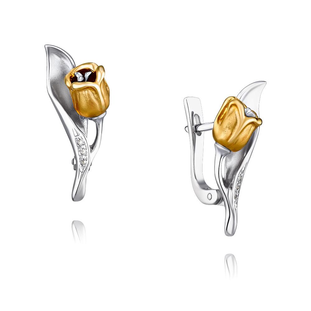 цена на Серьги из желтого золота 585 пробы с бриллиантом
