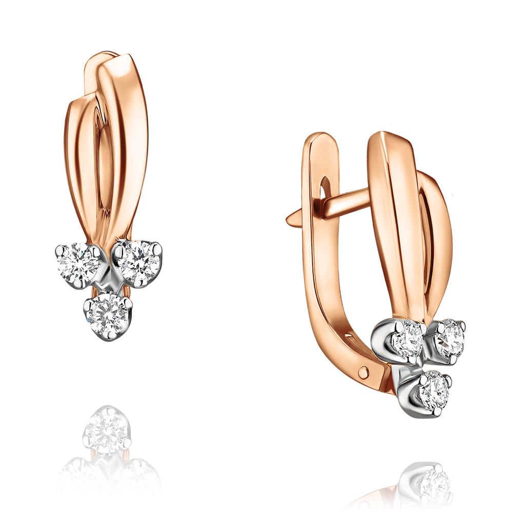 Купить Серьги из красного золота 585 пробы с бриллиантом, Другие, Красный, Для женщин, 2429168/01-А50Д-41