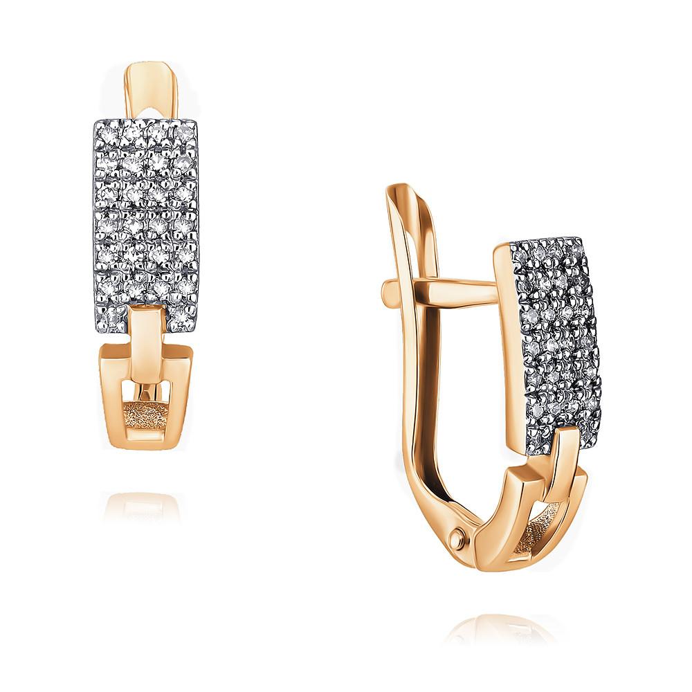 Купить Серьги из красного золота 585 пробы с бриллиантом, Другие, Красный, Для женщин, 2437726/01-А50Д-41