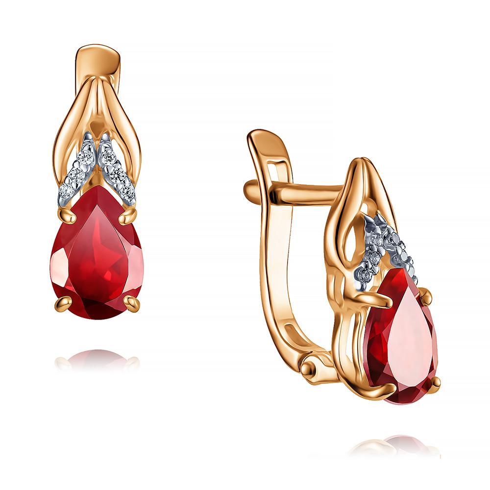Купить Серьги из красного золота 585 пробы с гранатом, SOKOLOV, Красный, Для женщин, 2445219/01-А50Д-655