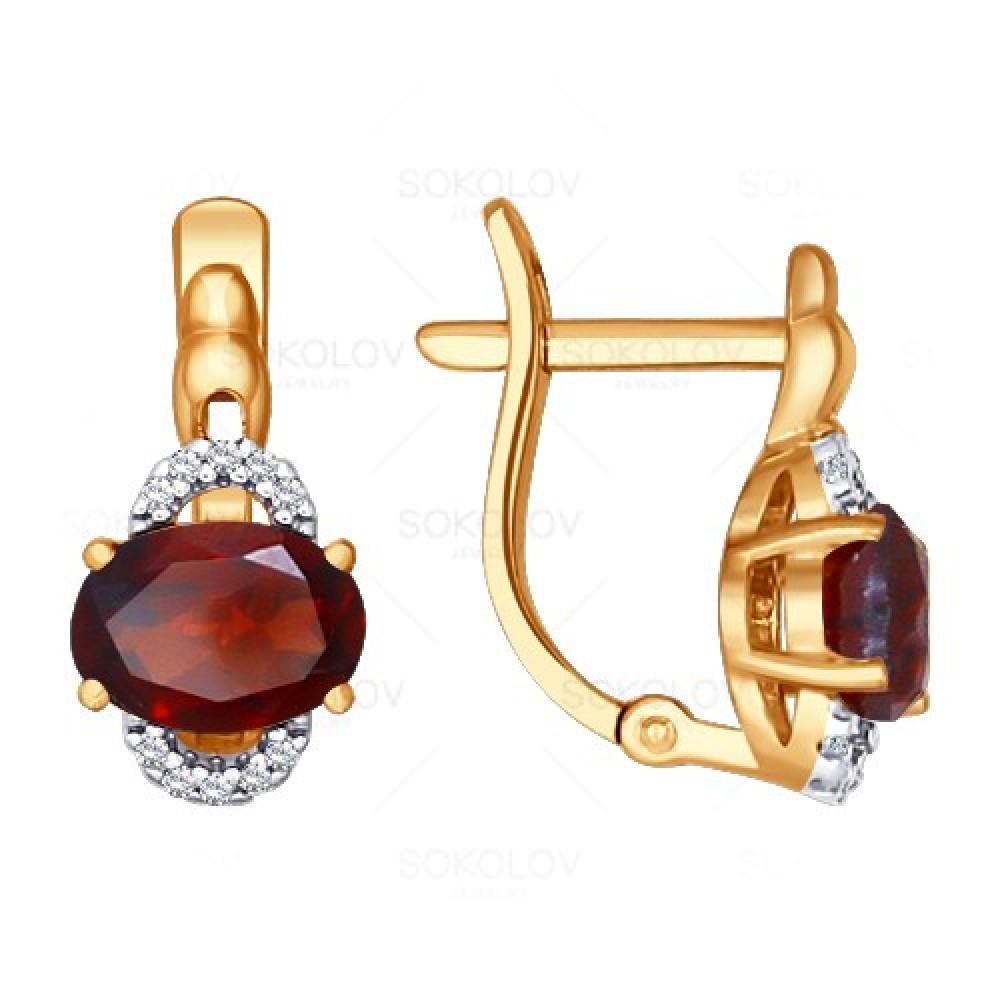 Купить Серьги из красного золота 585 пробы с гранатом, SOKOLOV, Красный, Для женщин, 2446308/01-А50Д-655