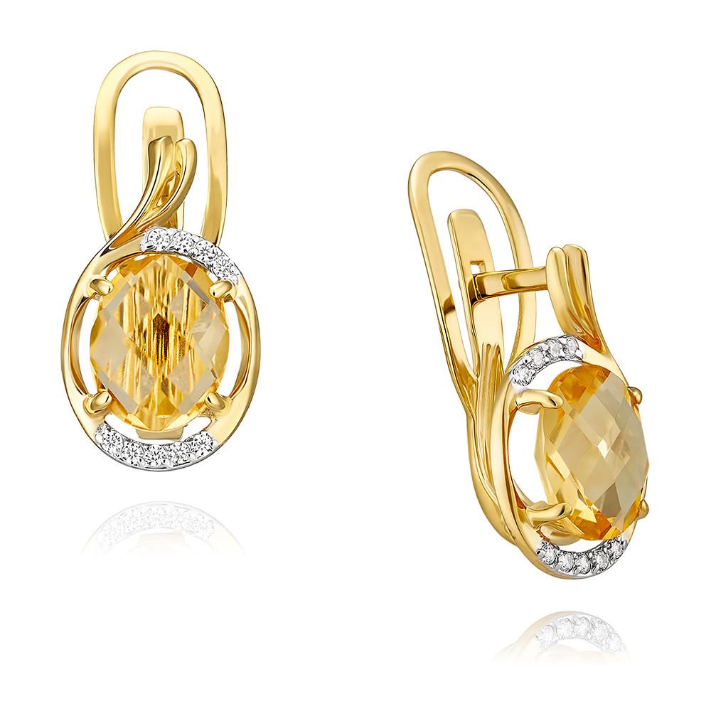 Купить Серьги из желтого золота 585 пробы с цитрином, Другие, Желтый, Для женщин, 2452113/02-А55-664