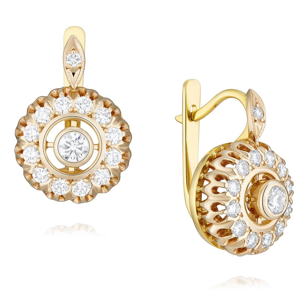 Купить Серьги из желтого золота 750 пробы с бриллиантом, Другие, Желтый, Для женщин, 2452787/01-А72Д-41