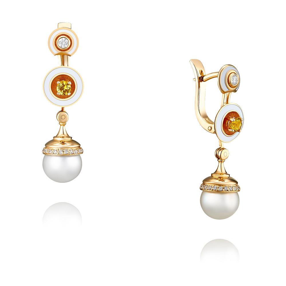Купить Серьги из красного золота 585 пробы с бриллиантом, жемчугом, Другие, Красный, Для женщин, 2453059/01-А50-448