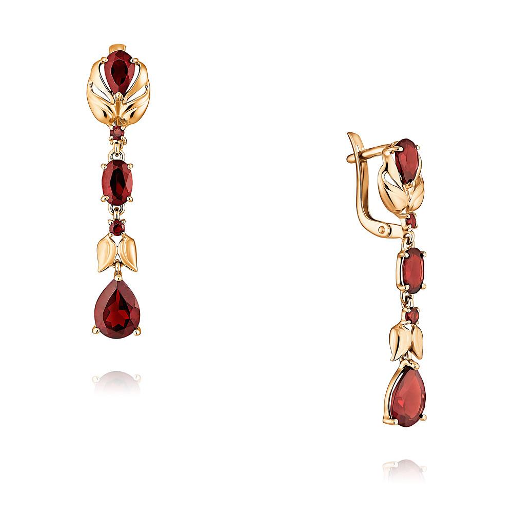 Купить Серьги из красного золота 585 пробы с гранатом, SOKOLOV, Красный, Для женщин, 2454264/01-А50-655