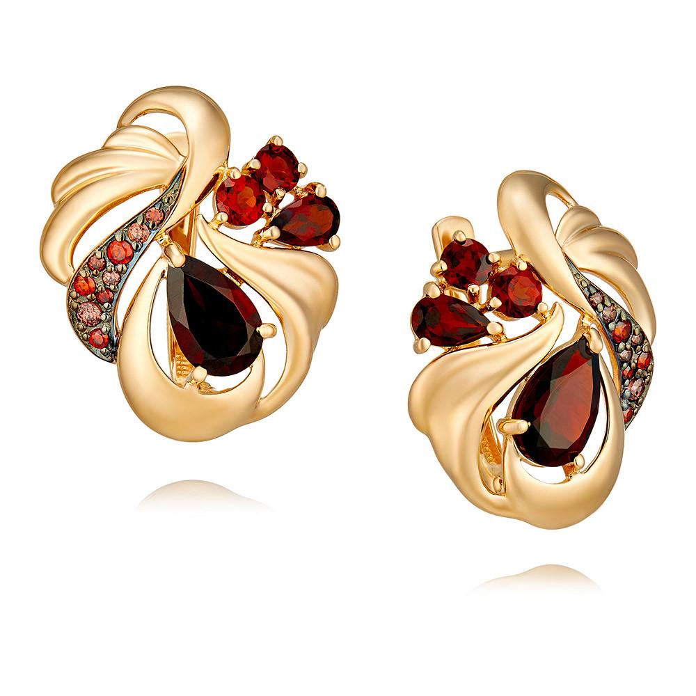 Купить Серьги из красного золота 585 пробы с гранатом, SOKOLOV, Красный, Для женщин, 2454825/01-А50Д-655