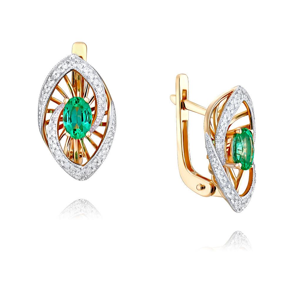 Купить Серьги из красного золота 585 пробы с бриллиантом, изумрудом, Другие, Красный, Для женщин, 2454958/01-А50Д-433