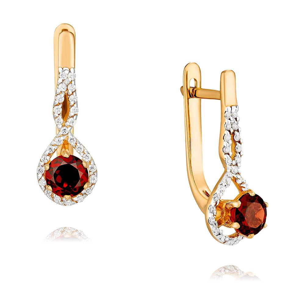 Купить Серьги из красного золота 585 пробы с гранатом, Другие, Красный, Для женщин, 2455504/01-А50Д-655