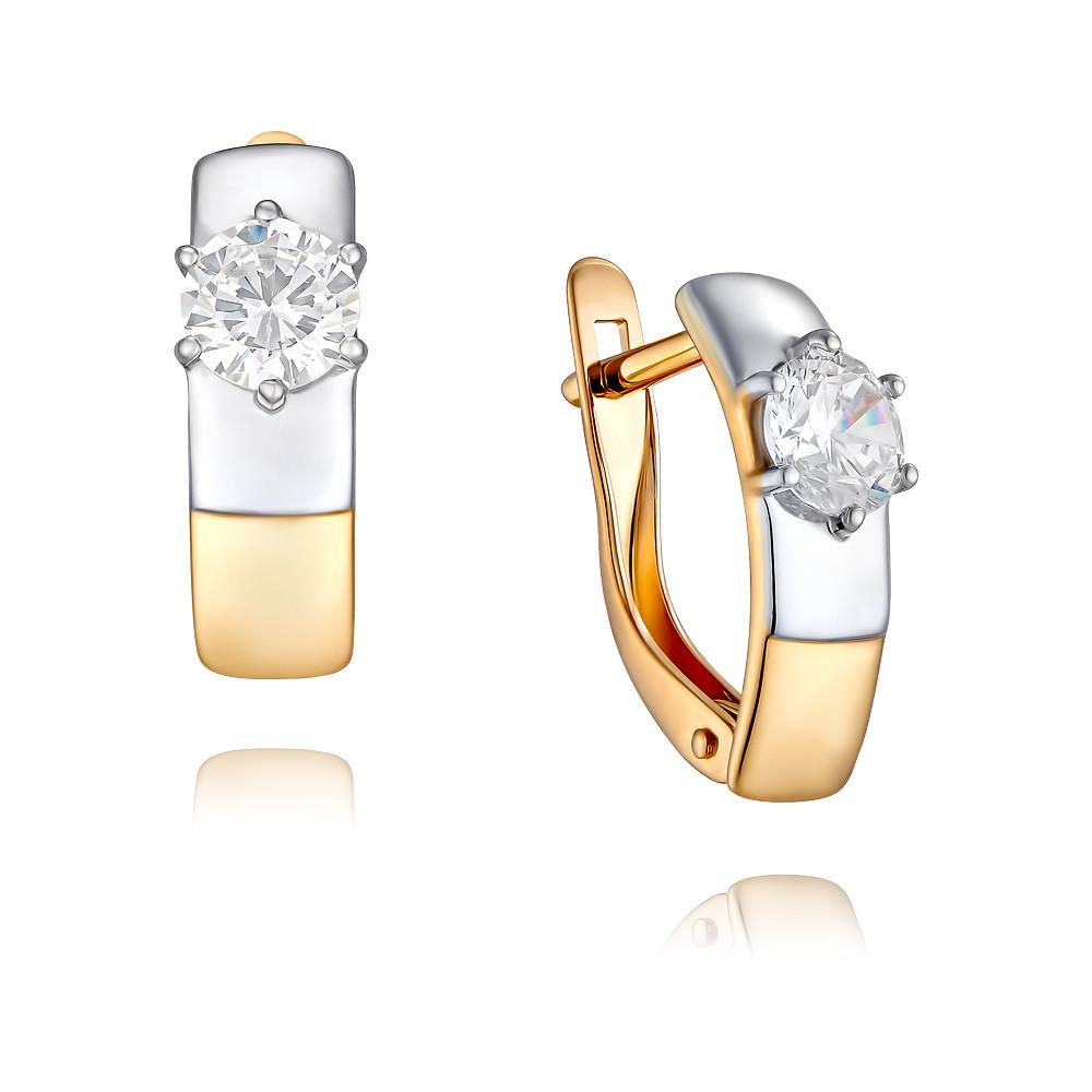 Купить Серьги из красного золота 585 пробы с фианитом, SOKOLOV, Красный, Для женщин, 2455707/01-А50Д-72