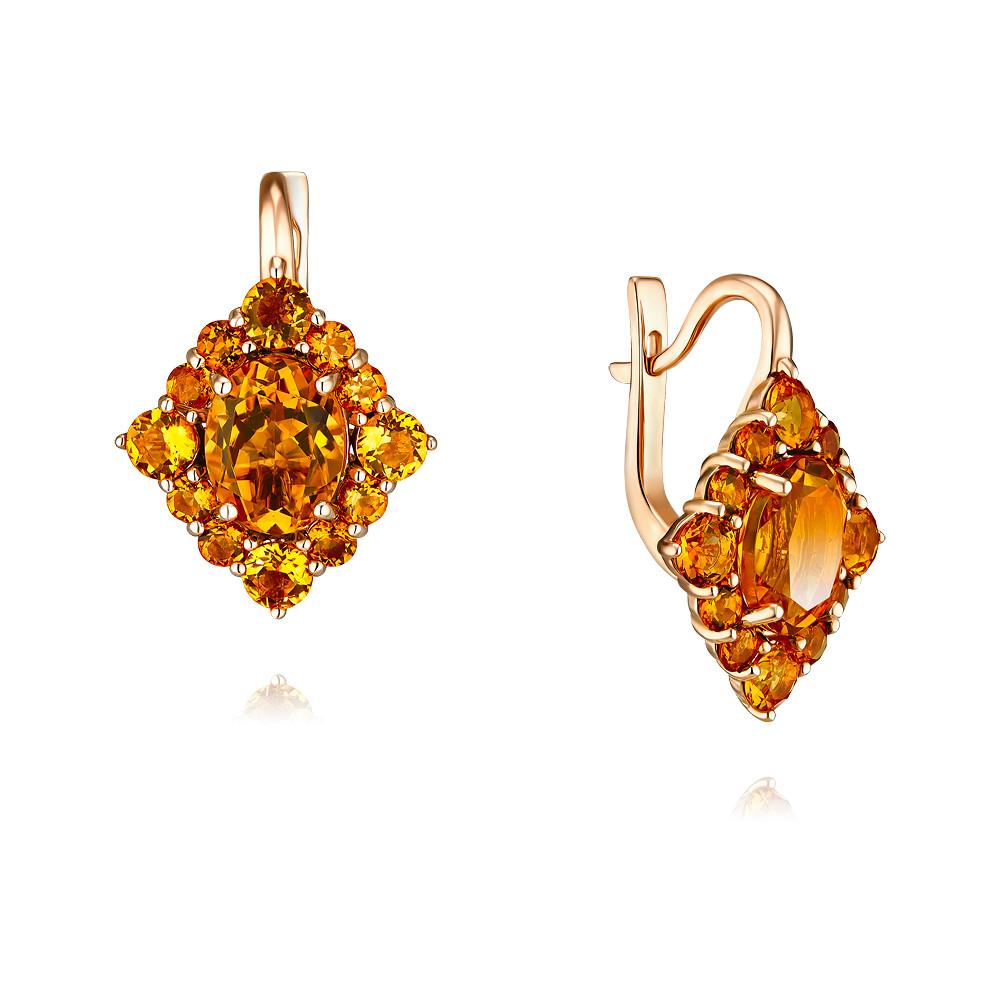 Купить Серьги из красного золота 585 пробы с цитрином, Другие, Красный, Для женщин, 2456211/01-А50-664