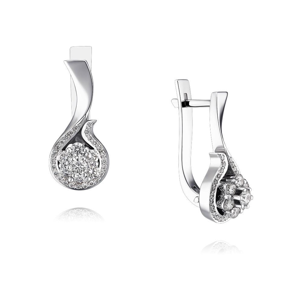 Купить Серьги из белого золота 585 пробы с бриллиантом, Другие, Белый, Для женщин, 2456322/01-А511Д-41