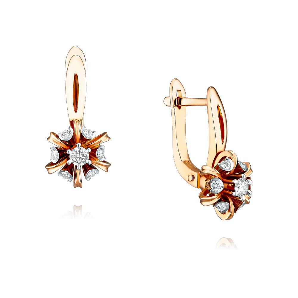 Купить Серьги из красного золота 585 пробы с бриллиантом, Другие, Красный, Для женщин, 2456328/01-А50Д-41