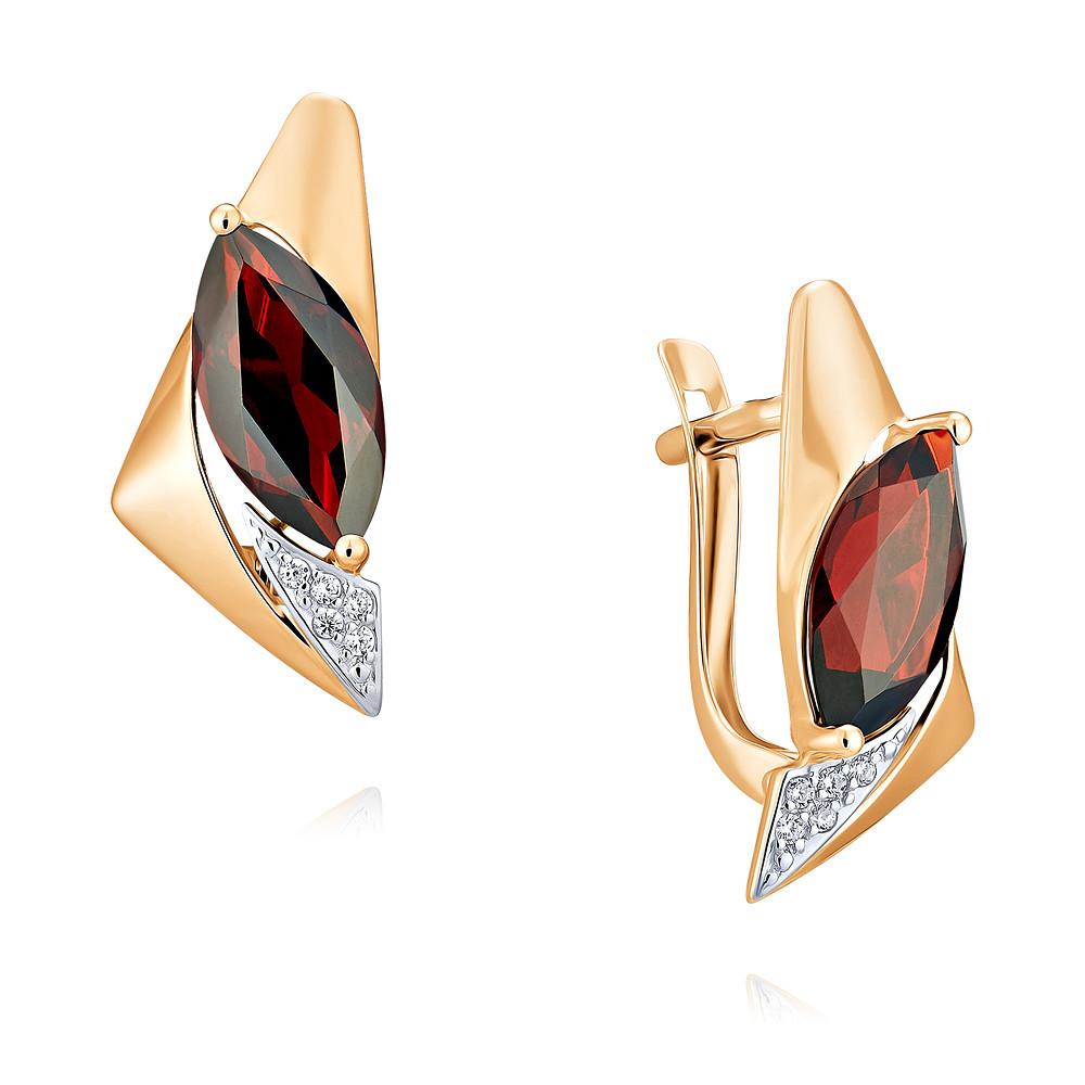 Купить Серьги из красного золота 585 пробы с гранатом, Другие, Красный, Для женщин, 2456397/01-А50Д-655