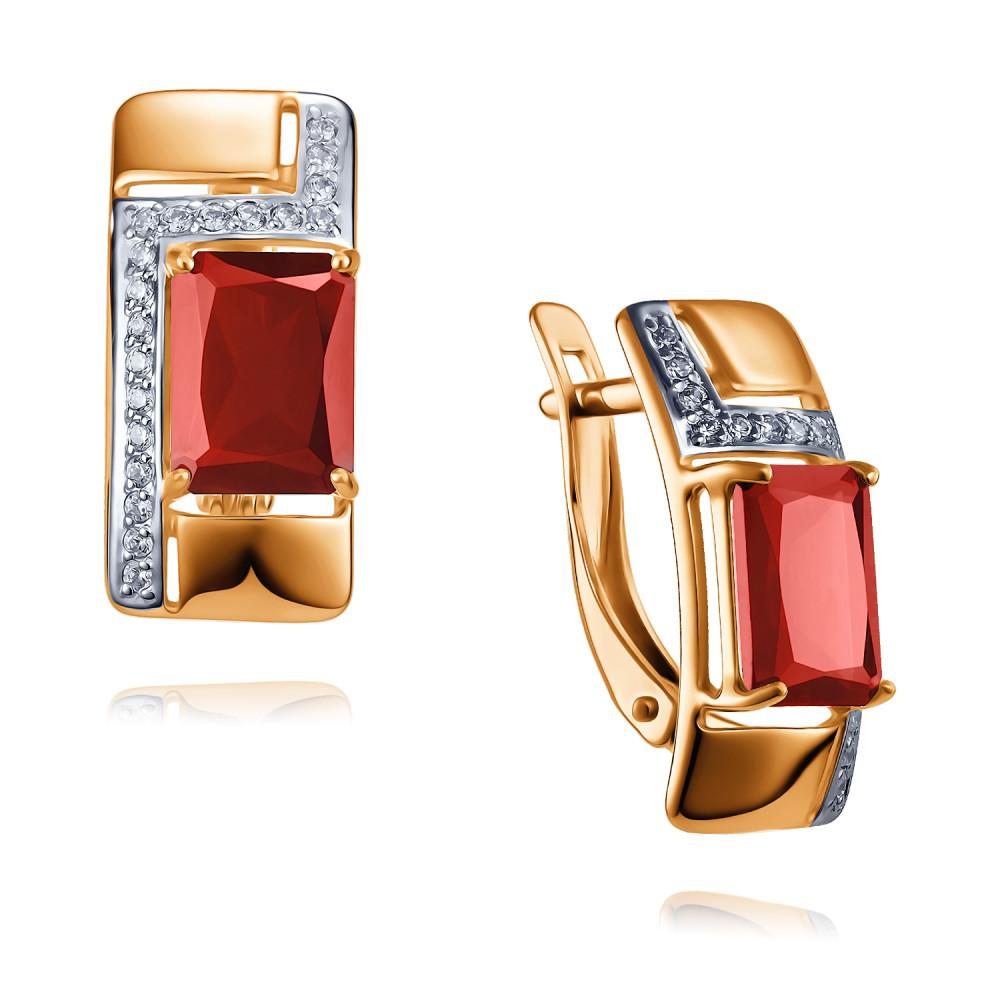 Купить Серьги из красного золота 585 пробы с гранатом, Другие, Красный, Для женщин, 2456405/01-А50Д-655