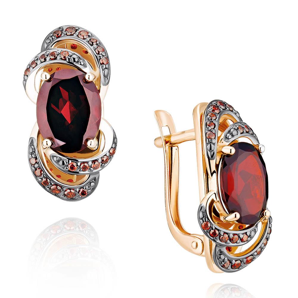 Купить Серьги из красного золота 585 пробы с гранатом, Другие, Красный, Для женщин, 2456406/01-А50Д-655