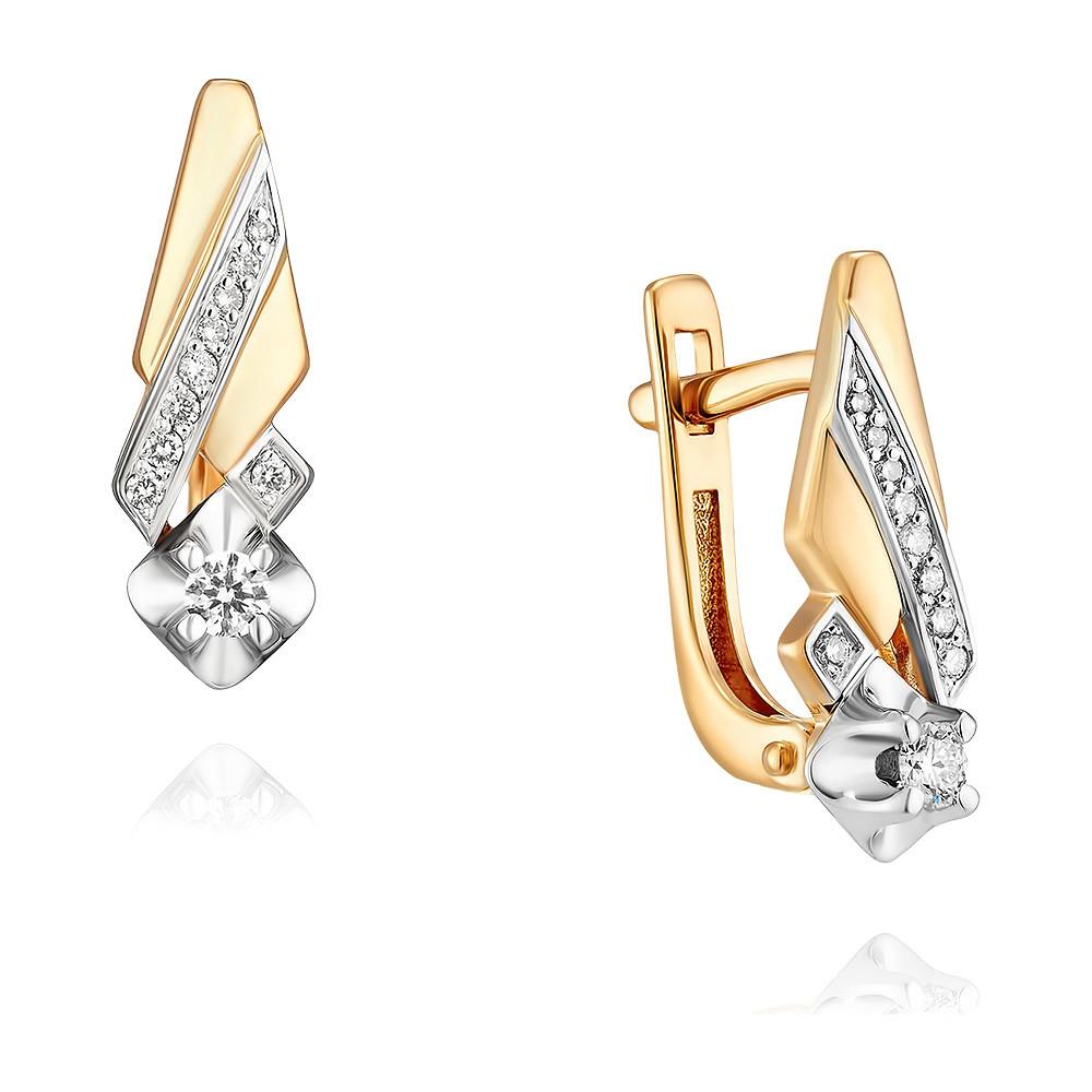 Купить Серьги из красного золота 585 пробы с бриллиантом, Другие, Красный, Для женщин, 2456484/01-А50-41