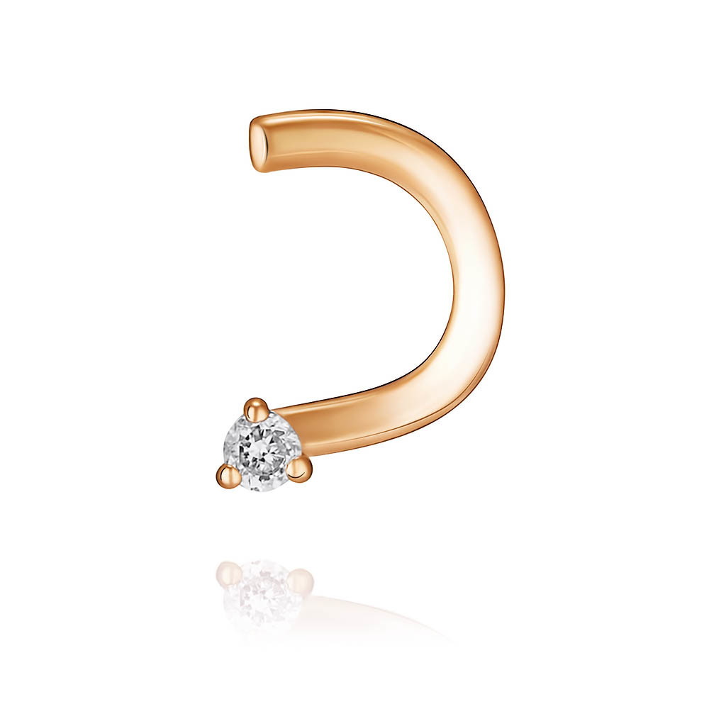 Пирсинг из красного золота 585 пробы с бриллиантом