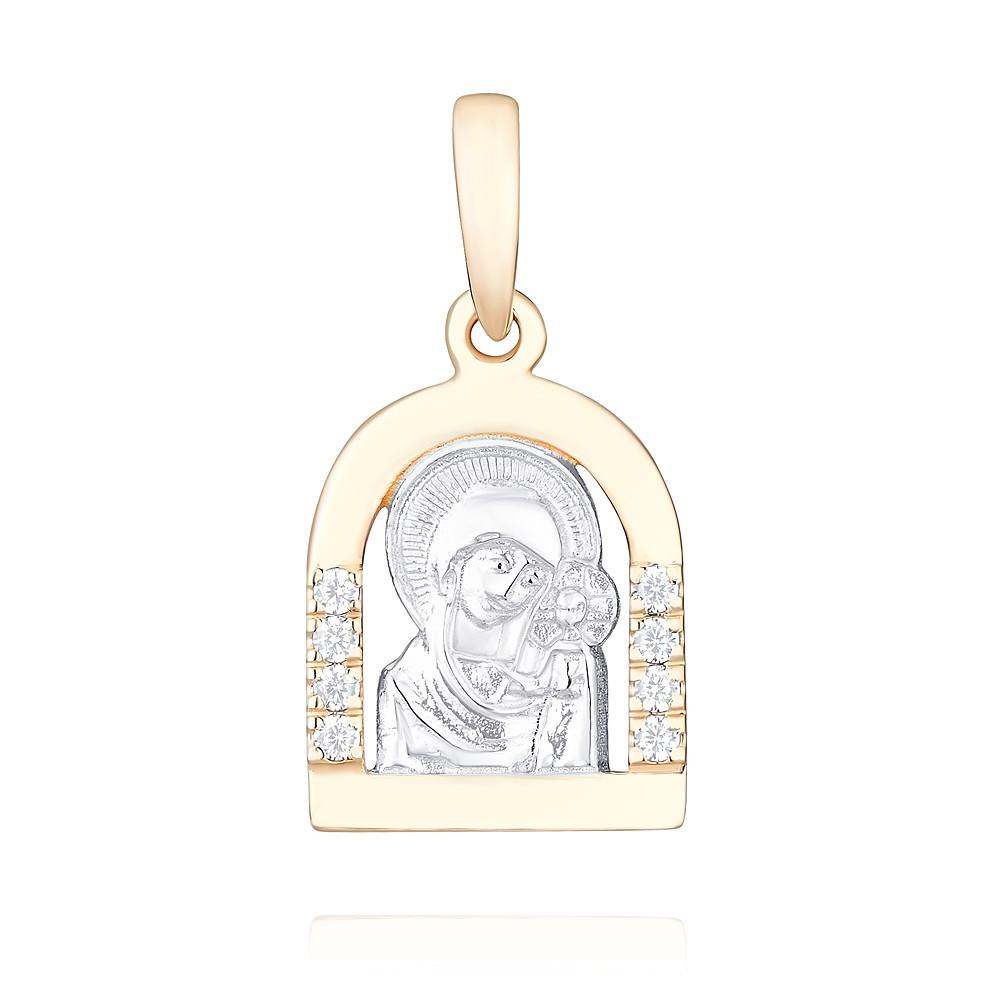 Икона из красного золота 585 пробы с фианитом