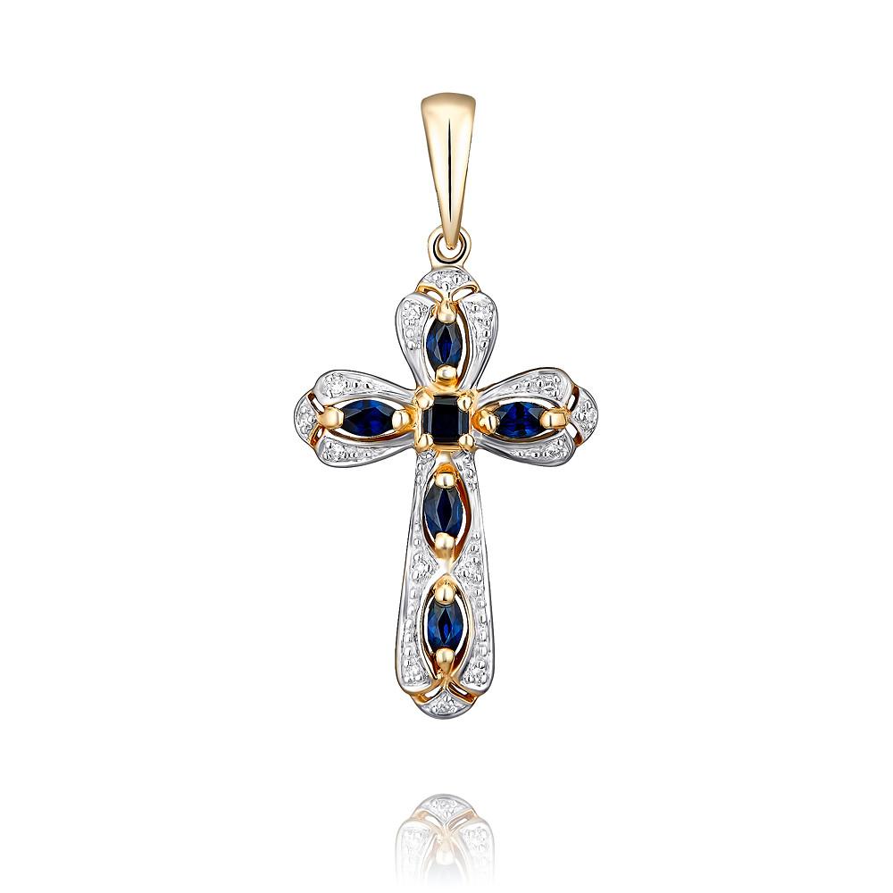 Купить Крест из красного золота 585 пробы с бриллиантом, сапфиром, Другие, Красный, Для женщин, 3306011/03-А50Д-432