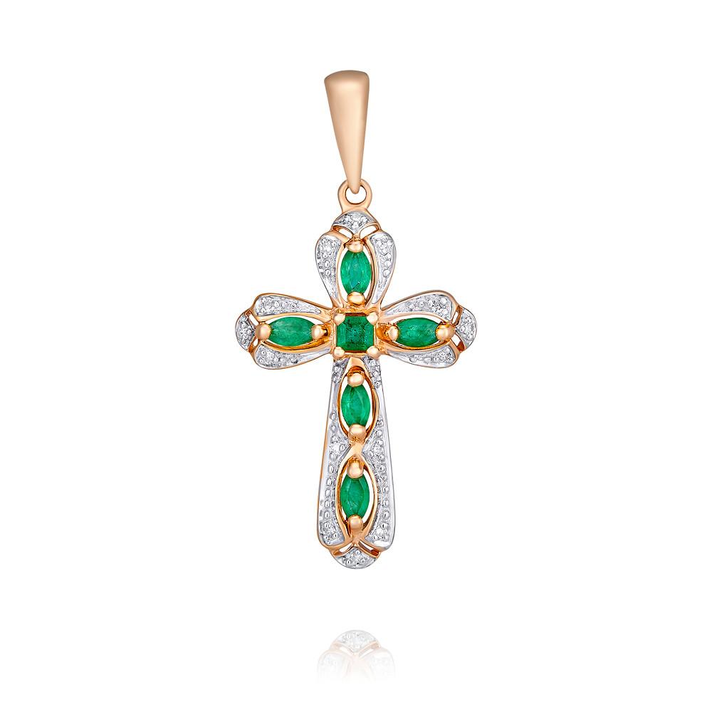 Купить со скидкой Крест из красного золота 585 пробы с бриллиантом, изумрудом