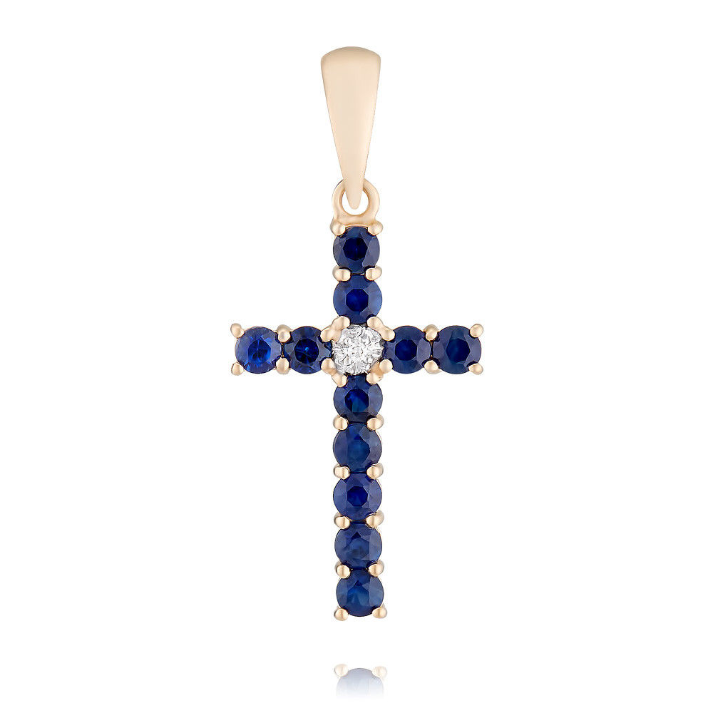 Купить Крест из красного золота 585 пробы с бриллиантом, сапфиром, Другие, Красный, Для женщин, 3328499/03-А50Д-432