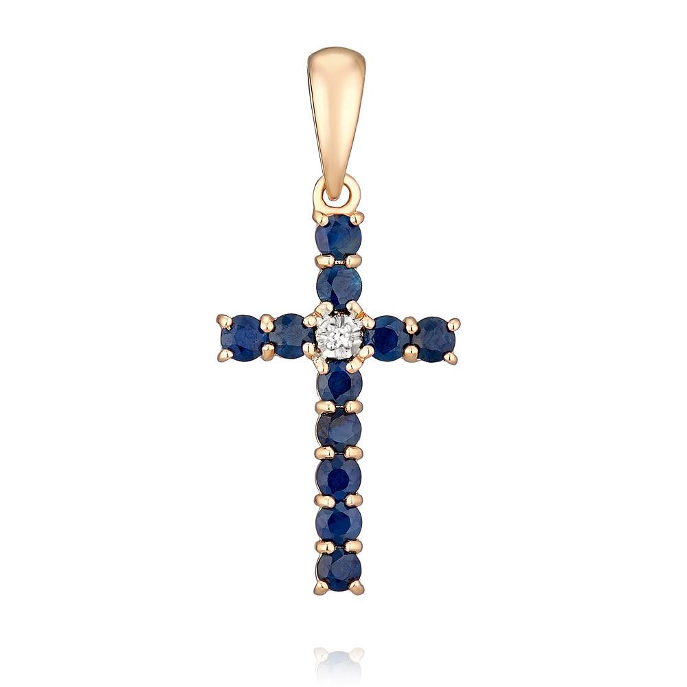 Купить Крест из красного золота 585 пробы с бриллиантом, сапфиром, Другие, Красный, Для женщин, 3328499/04-А50Д-432