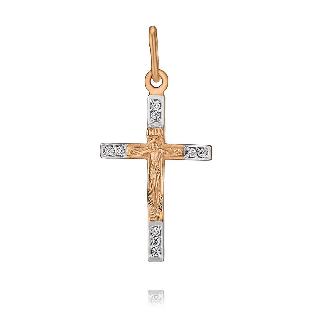 Купить Крест из красного золота 585 пробы с фианитом, SOKOLOV, Красный, Для женщин, 3349873/01-А50Д-72