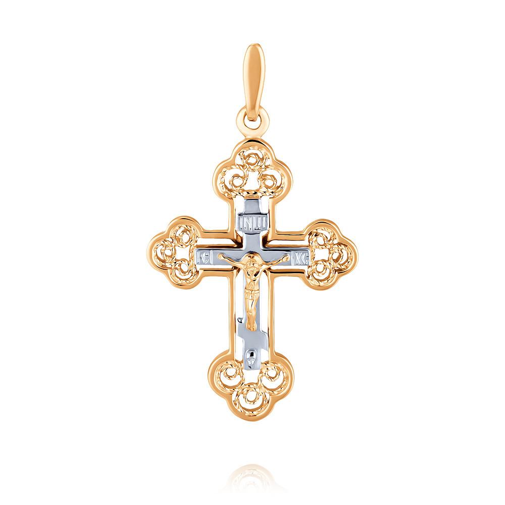 Купить Крест из красного золота 585 пробы, Другие, Красный, 3350450/01-А50Д-01