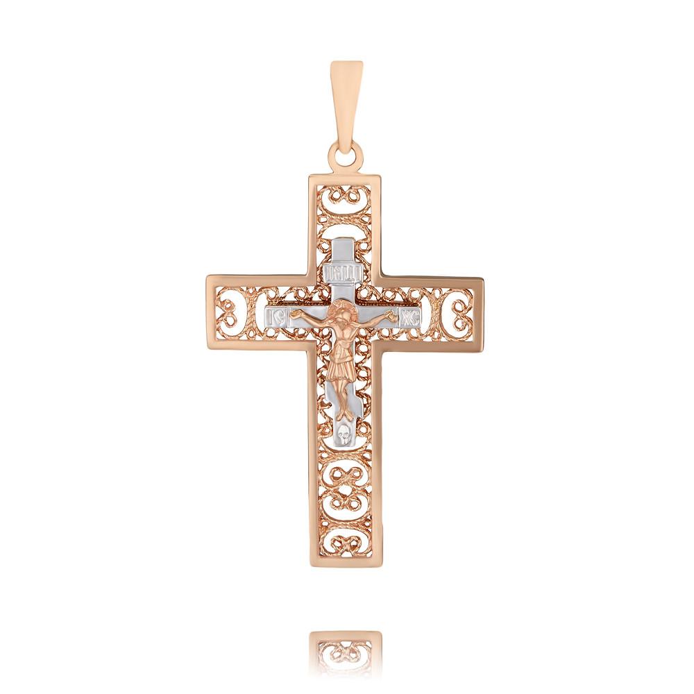 Купить Крест из красного золота 585 пробы, Другие, Красный, 3350451/01-А50Д-01