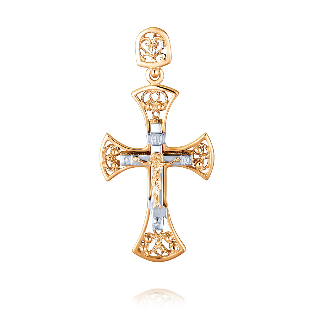 Купить Крест из красного золота 585 пробы, Другие, Красный, 3350667/01-А50Д-01