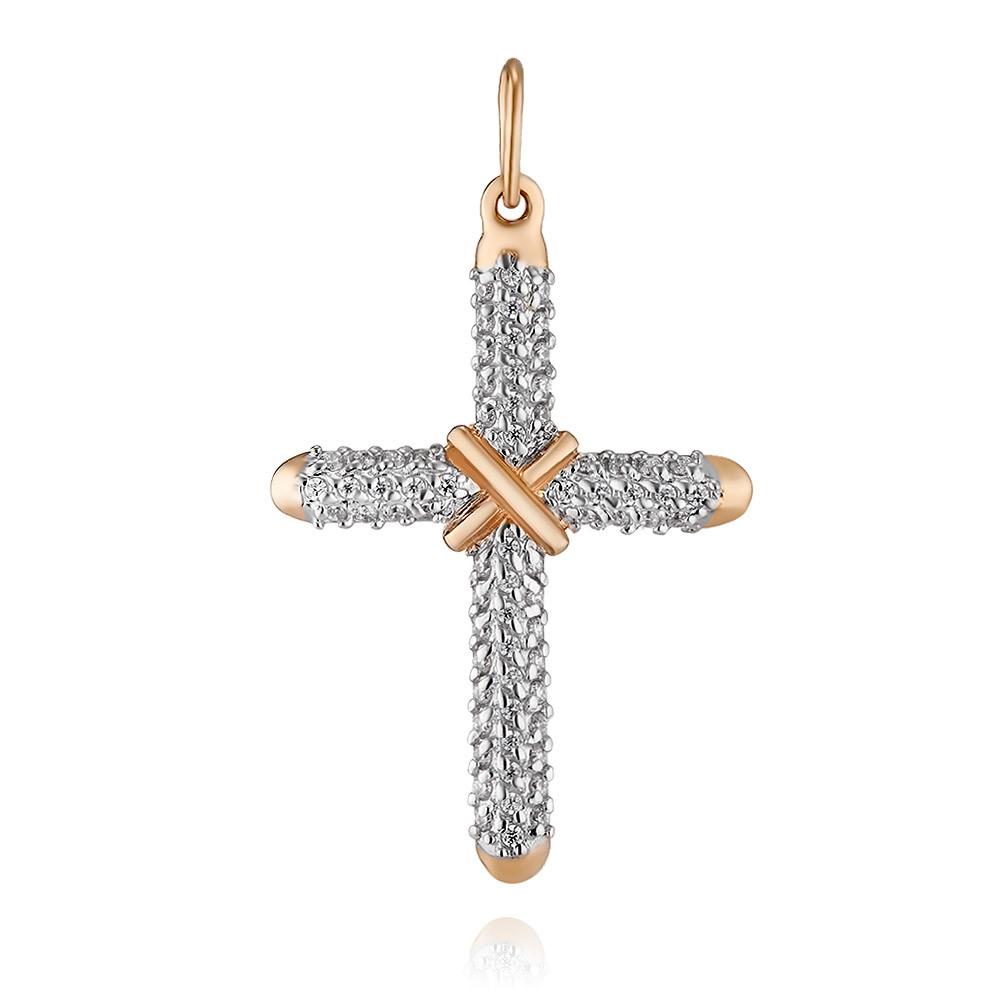 Купить Крест из красного золота 585 пробы с фианитом, Другие, Красный, Для женщин, 3350709/01-А50Д-72