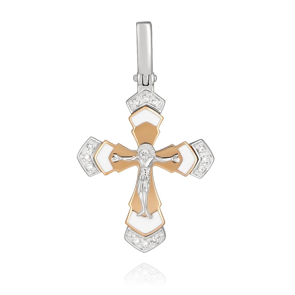 Купить Крест из красного золота 585 пробы с бриллиантом, Другие, Красный, Для женщин, 3351855/02-А50Д-41