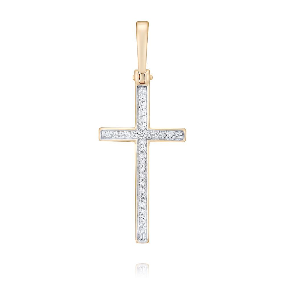 Купить Крест из красного золота 585 пробы с бриллиантом, Другие, Красный, Для женщин, 3353122/01-А50Д-41
