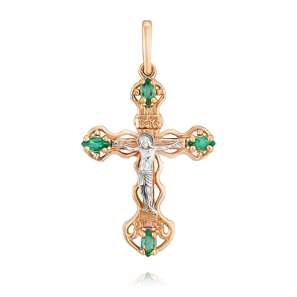 Купить Крест из красного золота 585 пробы с изумрудом, Другие, Красный, Для женщин, 3354097/01-А50Д-543