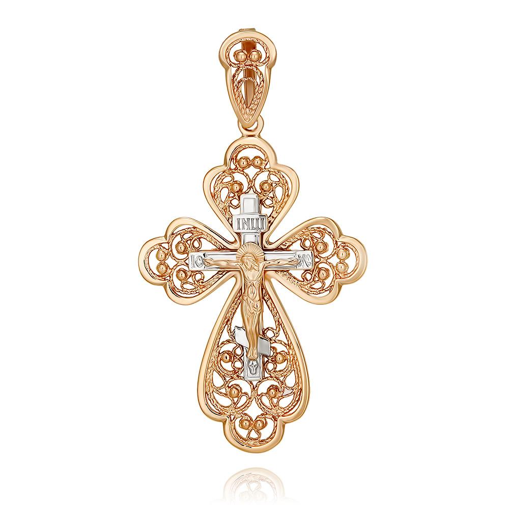 Купить Крест из красного золота 585 пробы, Другие, Красный, 3354452/01-А50Д-01