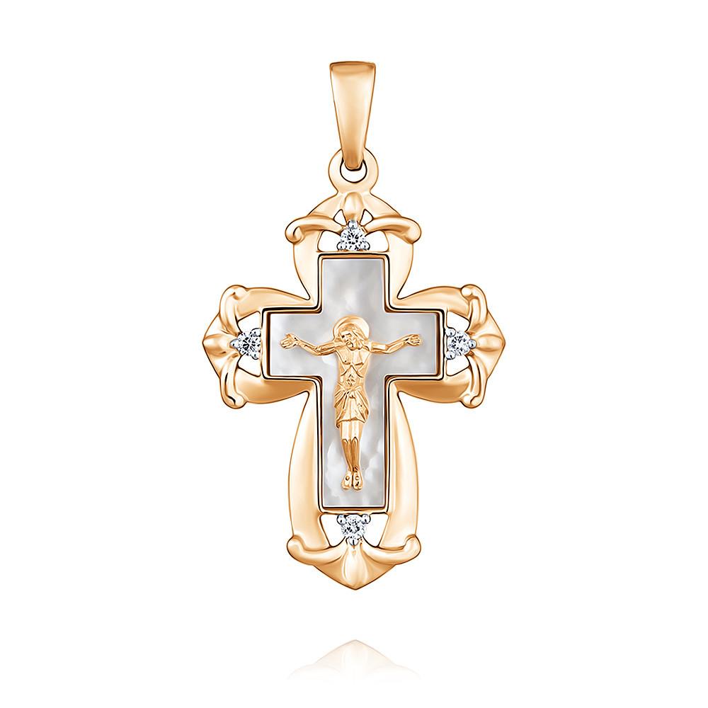 Крест из красного золота 585 пробы с бриллиантом, SOKOLOV, Красный, Для женщин, 3354613/01-А50Д-41  - купить со скидкой