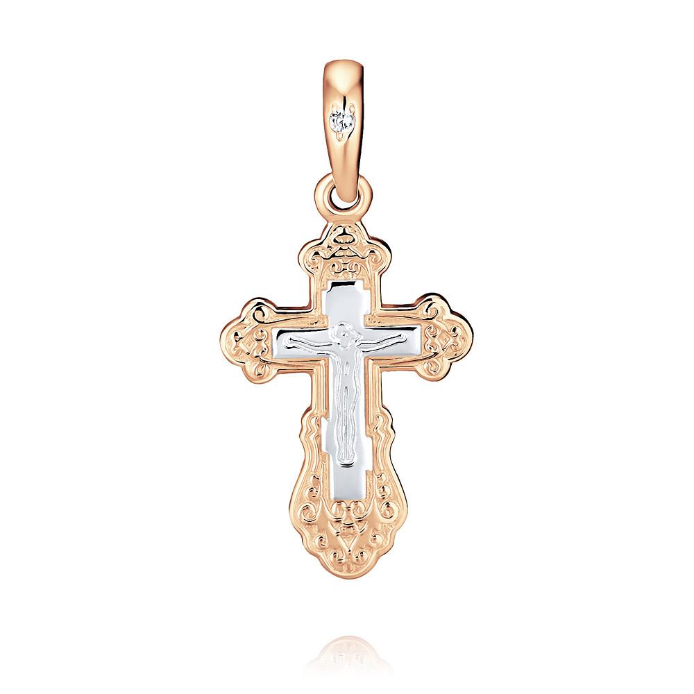Купить Крест из красного золота 585 пробы с фианитом, Другие, Красный, Для женщин, 3355400/01-А50-72