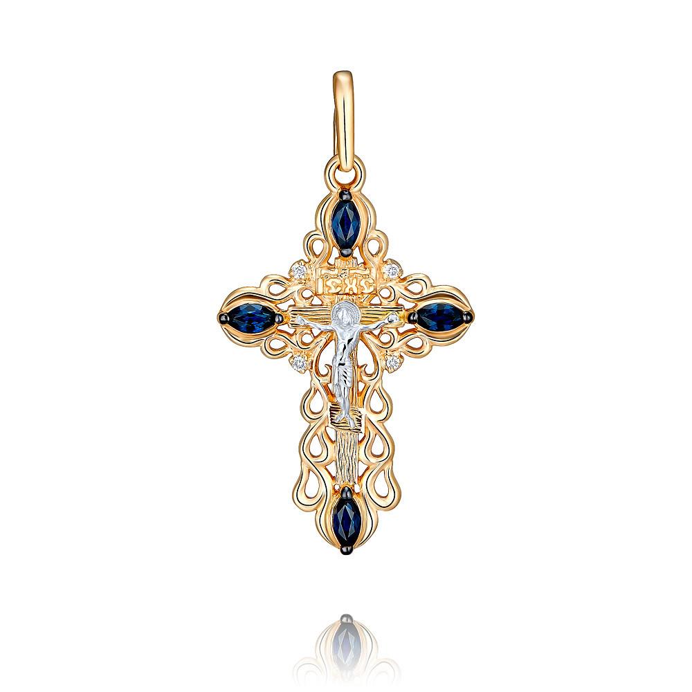 Купить Крест из красного золота 585 пробы с бриллиантом, сапфиром, Другие, Красный, Для женщин, 3355786/01-А50Д-432