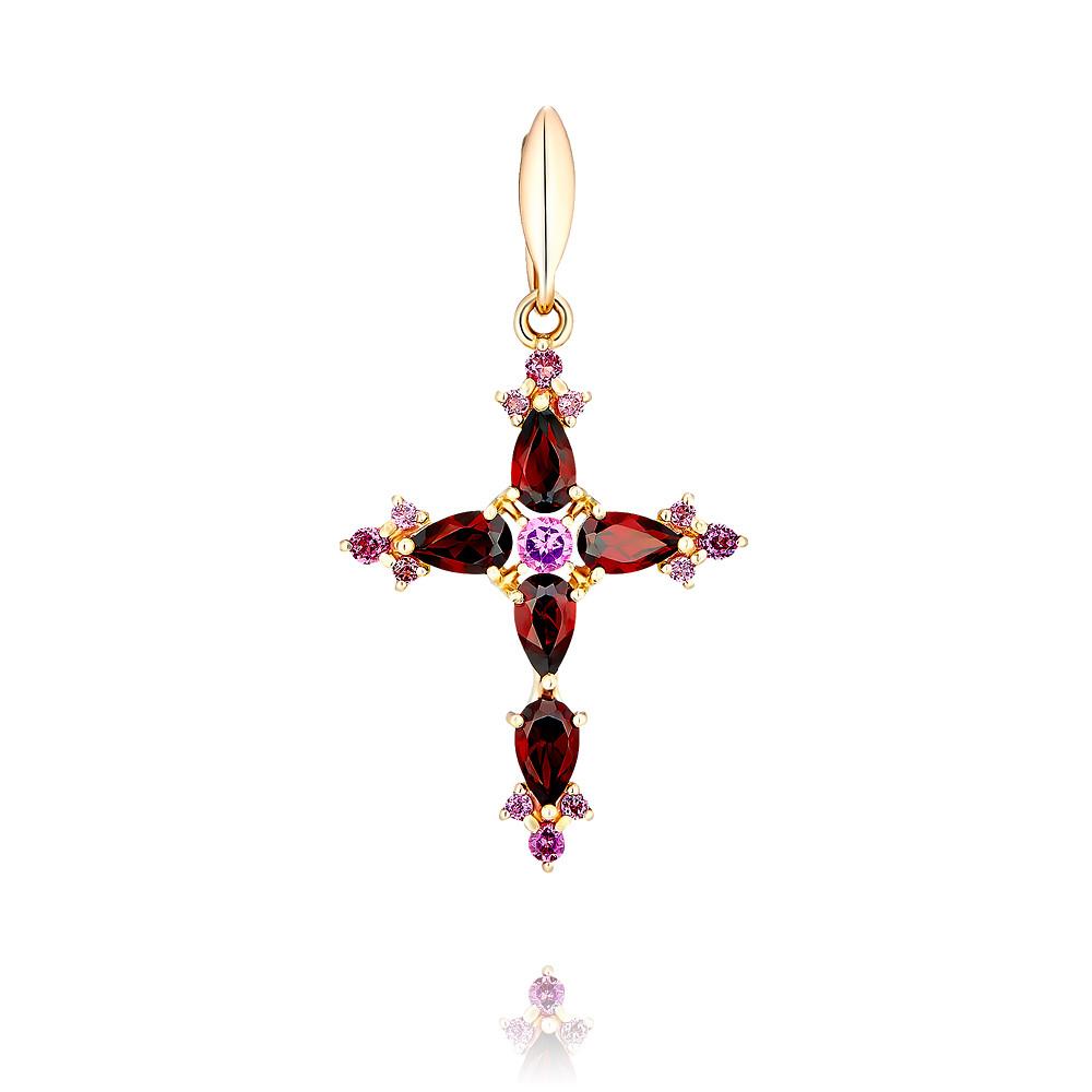 Купить Крест из красного золота 585 пробы с миксом вставок, SOKOLOV, Красный, Для женщин, 3355871/01-А50-670
