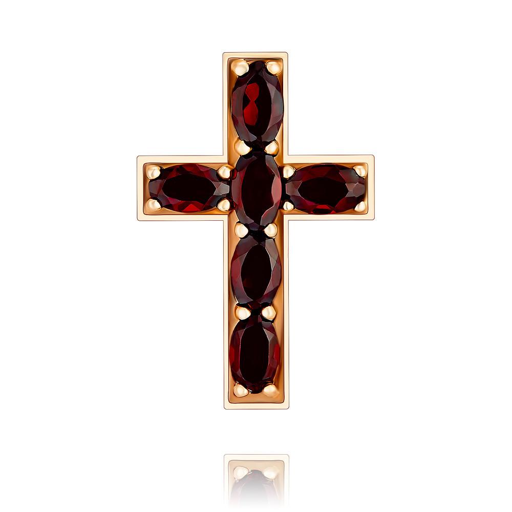 Купить Крест из красного золота 585 пробы с гранатом, Другие, Красный, Для женщин, 3356585/01-А50-655
